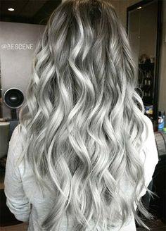 Granny Silver/ Grey Hair Color Ideas: Charcoal Grey Wavy Hair