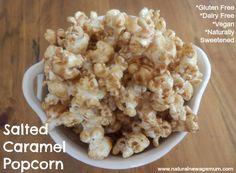 Salted caramel popcorn - gluten free, dairy free, vegan, non GMO Gluten Free Baking, Gluten Free Desserts, Dairy Free Recipes, Vegan Desserts, Vegan Recipes, Sweet Recipes, Whole Food Recipes, Snack Recipes, Easy Recipes