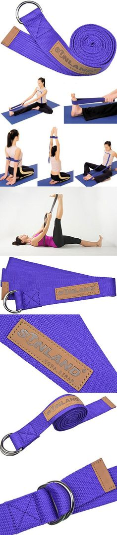 Sunland Yoga Stretching Belt Yoga BandsFitness Training Strap Belt With Metal D-Ring and Leather Accents 6 Foot Length 1.65 Inch Width Purple