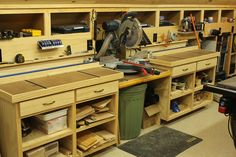 Woodworking Bench Woodshop Miter Saw Bench and Storage Woodworking Shop Woodworking Shop Layout, Woodworking Workbench, Easy Woodworking Projects, Wood Projects, Woodworking Jigsaw, Woodworking Beginner, Garage Workbench, Woodworking Organization, Woodworking Lathe