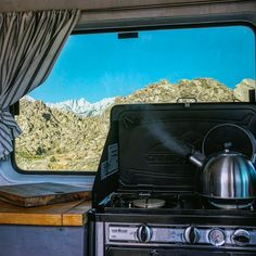 This is the coolest setup for a #vanlife kitchen! I love the idea of being able to cook and bake backpacking food on the road. Perfect for any adventure vehicle or campervan build. It fits in great with the interior as well!
