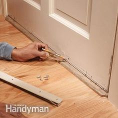 Replace Your Weather Strip: Install a door bottom weather strip to wooden doors for an effective and almost invisible airtight seal and to stop drafts. Read more: http://www.familyhandyman.com/doors/repair/replace-your-weather-strip/view-all
