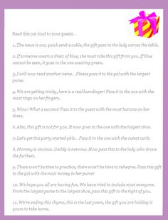 Pass the Present – I love this fun poem that you can do at the end of a shower to see who gets the final gift giveaway or centerpiece.