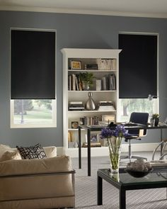 Sleep Soundly with Blackout Roller Shades In my study, I need to block out the morning sun in summer. These blinds might be perfect. Living Room Blinds, Bedroom Blinds, Diy Blinds, House Blinds, Blinds For Windows, Black Out Curtains Bedroom, Sheer Blinds, Blinds Ideas, Ikea Curtains