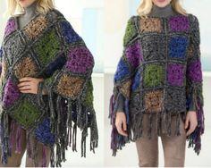 Beautiful Crochet Poncho Patterns That You Will Love Crochet Poncho Patterns, Crochet Shirt, Crochet Jacket, Knitted Poncho, Knit Or Crochet, Crochet Scarves, Crochet Clothes, Free Crochet, Crochet Edgings