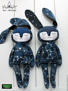 Absolutely cosmic bunnies Consider using my cityscape fabric for similar doll.