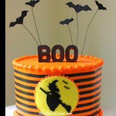 Spooky Halloween Witch Silhouette Cake! Video Tutorial by MyCakeSchool.com. Online Cake Tutorials & Recipes!
