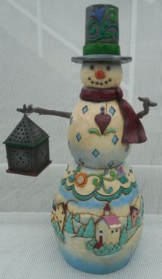 "Jim Shore 2003 Snowman w/ Lantern ""Winter's Light"" 112253 Jim Shore Christmas, Christmas Mom, All Things Christmas, Xmas, Christmas Ideas, Snowman Images, Snowmen Pictures, Ceramic Lantern, Whimsical Christmas"