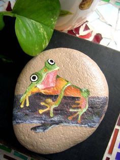Frog on a branch painted on a stone