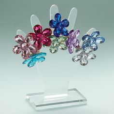 40Pc Gemstone Flower Ring Unit on Cntrtop Display Inc 8/Colors © Twos Company