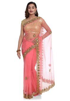 Net Saree, Saree Blouse, Sari, Net Blouses, Golden Dress, Back Neck Designs, Work Sarees, Pink Saree, Beautiful Saree