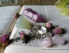 amethyst, flourite, rose quartz rosebuds