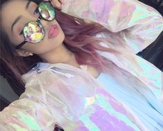 Holographic iridescent raincoat with kaleidoscope glasses is what I'm living for at the moment ✨