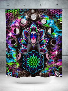 "Owl with Abstract Colorful Shapes Large 100/% Cotton 54x86/"" Wall Tapestry"