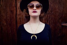 Crescent Moon Necklace Long Layering Necklace by BEADANDBONES