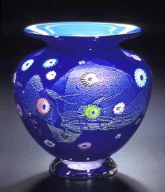 """""""Cobalt Blossom Vase""""  Art Glass Vase  Created by Ingrid Hanson and Ken Hanson"""
