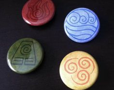 "Avatar Korra Airbender 1-1/2"" button pin set of 4 Elements Nations - Brandy Woods"