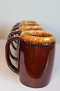 Set of 5 Pioneer USA Brown Drip Pottery Mugs Coffee Cups | eBay