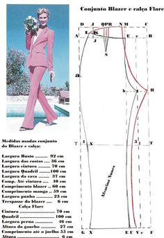 Costura e Modelagem Coat Patterns, Dress Sewing Patterns, Clothing Patterns, Sewing Sleeves, Sewing Pants, Pattern Making Books, Costura Fashion, Sewing Blouses, Blazer Pattern