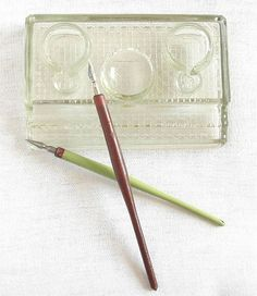 Vintage heavy glass desktop inkwell with two wooden DIP PENS