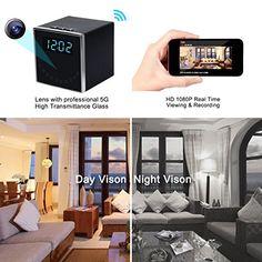 Corprit Wireless Hidden Spy Camera Night Vision Network IP Cam HD 1080P WiFi Home Security Camera Black Cube Table Alarm Clock Surveillance Mini DVR,16GB Micro SD Card Included