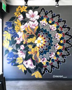 Behind The Scenes By arts_promote Mural Floral, Flower Mural, Floral Wall, Wall Painting Decor, Mural Wall Art, Wall Painting Flowers, Mandala Art, Hand Painted Walls, Wall Art Designs