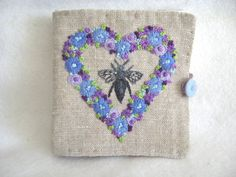 Hand Embroidered Linen Needle Case by BettyAliceBlue on Etsy