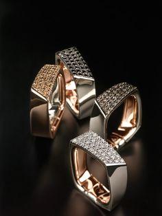 Pink gold rings with diamonds - Kult Collection by K di Kuore. kdikuore.com