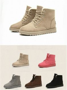 Casual Woman's Flat Lace Up Fur Lined Winter Martin Boots Snow Ankle Boots Shoes - Find 150+ Top Online Shoe Stores via http://AmericasMall.com/categories/shoes.html