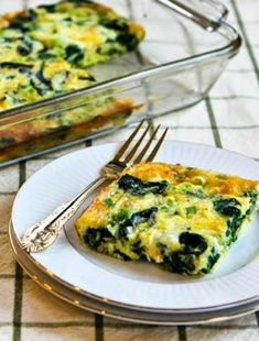 Spinach and Mozzarella Egg Bake found on KalynsKitchen.com