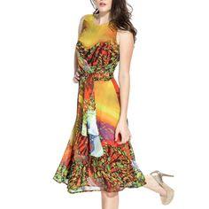 f0058c83a95 Women s Tie Back Multicolored Sleeveless Dress