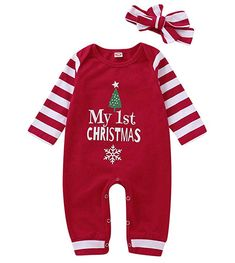Christmas Newborn Infant Baby boy Girl Clothes Outfit Long Sleeve Romper Pajama Striped Headband Set >>> See this great product. (This is an affiliate link) Newborn Christmas, Baby Girl Christmas, 1st Christmas, Christmas Print, Long Sleeve Pyjamas, Long Sleeve Romper, Long Romper, Jumpsuit Outfit, Romper Pants
