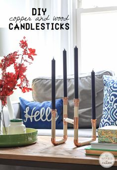 DIY Copper and Wood Candlesticks