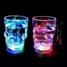 6130e115ba New Moon Light LED Color Cup Skull Water Mug Flashing Beer Cup