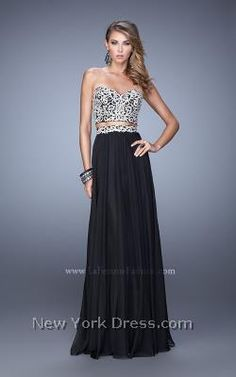 Dreamy two-piece strapless gown with dazzle by La Femme 21269