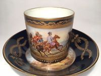 Wonderful Beginning 19th Century Sevres Napoleonic Cup & Saucer, Signed