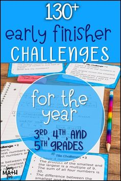 Engage your grade, and grade early finishers with over 130 rigorous math activities that motivate the unmotivated. These NO PREP upper elementary math extensions will keep your fast finishers and gifted students learning and challenged! Math Early Finishers, Early Finishers Activities, Fast Finishers, Math Lesson Plans, Math Lessons, 3rd Grade Activities, Learning Activities, Montessori Activities, Elementary Math