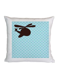 Too cute! Helicopter Blue Square Cushion