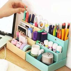 £2.82 GBP - Cute Paper Board Storage Box Desk Decor Stationery Makeup Cosmetic Organizer Diy #ebay #Home & Garden