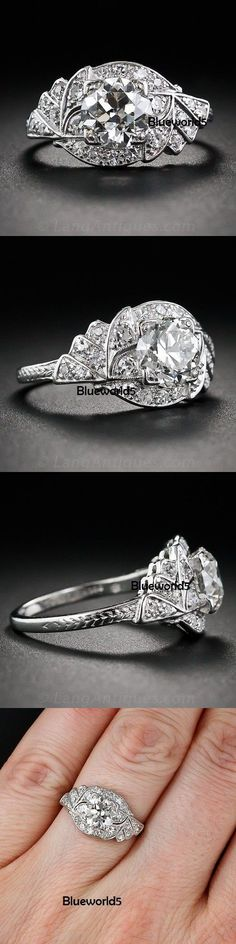 CZ Moissanite and Simulated 92868: 2Ct Off White Moissanite Ring Engagement Wedding Ring 925 Sterling Silver -> BUY IT NOW ONLY: $123.25 on eBay!