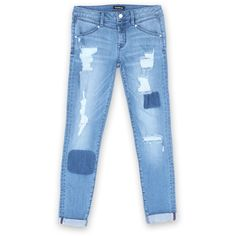 Destroyed Girlfriend Jeans found on Polyvore featuring jeans, bottoms, pants, destructed jeans, ripped blue jeans, destruction jeans, destroyed jeans and bebe jeans