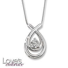 Loves Embrace Necklace 1/2 Carat Diamond 14K White Gold