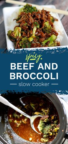 """This super easy Slow Cooker Spicy Beef and Broccoli Recipe is for all my """"cooks"""" who love a good Chinese meal, but can't make one for the life of them. Best Slow Cooker, Slow Cooker Recipes, Crockpot Recipes, Broccoli Beef, Broccoli Recipes, Frugal Meals, Quick Meals, Best Dinner Recipes, Delicious Recipes"""