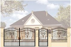 Porti si garduri din fier forjat | Adveltis Gate, Mansions, House Styles, Home Decor, Decoration Home, Portal, Manor Houses, Room Decor, Villas