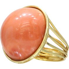 Large Statement Natural Coral 18K Gold Cocktail Ring from alpha-and-omega-jewelry-and-antiques on Ruby Lane