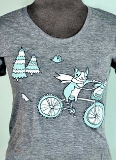 This unique bike tshirt comes in both Women's and Men's sizes, only at boygirlparty: http://shop.boygirlparty.com/products/grey-bike-tshirt?variant=1157391253 #bike #tshirt #shirt #giftforher