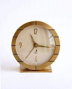 Vintage French alarm clock Jaz table clock Brass desk clock Wind up mechanical… Vintage Alarm Clocks, Mechanical Clock, Gold Home Decor, Art Deco Home, Desk Clock, Beige Color, French Vintage, Brass, Antiques