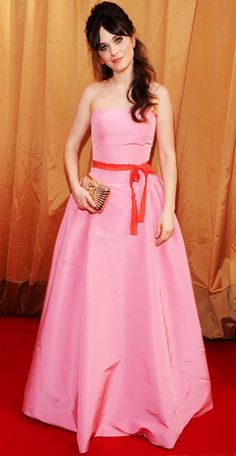 Zooey Deschanel- love the pink dress with the red belt.