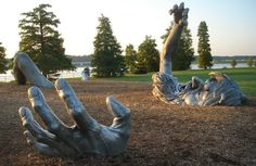 "National Harbor - Washington, D. sculpture by artist J. Seward Johnson, entitled ""The Awakening. Funny Statues, Seward Johnson, Art Sites, More Pictures, Random Pictures, Garden Art, Washington Dc, Awakening, Sculpture Art"