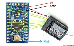 For radio receiver, there are a few output signal formats. The traditional and also most common type of RX signal is the PWM and basically PWM requires 1 cable Robotics Projects, Science Projects, Hobby Electronics, Electronics Projects, Nrf24l01 Arduino, Quad, Micro Computer, Home Automation, Coding